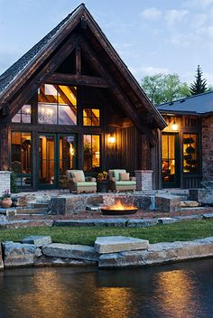 A unique condo project at Montana's Flathead Lake melds the look of a modern mountain lodge with Old World style. Photo by Heidi Long.
