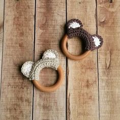 Items similar to Crochet Bear Teething Ring Teething Toy Cotton Yarn Bear Wooden Teether Natural Wood Baby Shower Gift Natural Teething Bear Baby Toy on Etsy Crochet Baby Toys, Crochet Bear, Love Crochet, Crochet For Kids, Diy Crochet, Crochet Dolls, Cotton Crochet, Baby Knitting Patterns, Easy Crochet Patterns