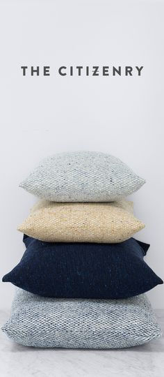 "Meet the tweed pillows from The Ireland Collection. Handcrafted in the Mourne Mountains, these textured pillows are made using ""wild"" spun yarn from Donegal. Be sure to check out The Citizenry to explore the rest of the collection."