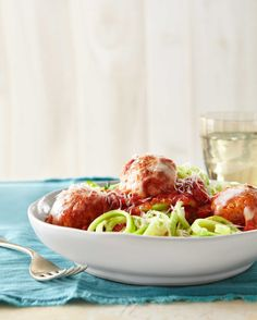 Turkey Meatballs Over Zucchini Noodlescountryliving