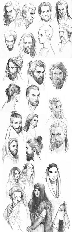 New Fashion Drawing Tutorial Sketches Hair Reference 56 Ideas Drawing Sketches, Art Sketches, Art Drawings, Drawing Faces, Drawing Tips, Sketching, Man Face Drawing, Animation Sketches, Sketches Of Faces