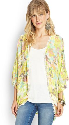 FOREVER 21 Lace-Trim Floral Kimono