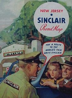"""For a route to the World's Fair write Sinclair"" Love this New Jersey Sinclair Road Map from 1939! http://sinclairmemories.com/"