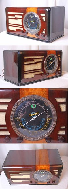 Larger table radio, large dial, walnut cabinet with American Elm contrasting inlay stripe. Radio Vintage, Vintage Tv, Antique Shops, Vintage Antiques, Poste Radio, Retro Radios, Old Time Radio, Lps, Transistor Radio