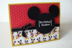 :: Please read my shop announcements before purchasing ::    Super cute Mickey Mouse Birthday card    Card measures 5.5 by 4.25 and comes with a