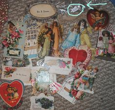 lot of vintage valentines ~ total cost 50 cents ! now that's a #fleamarkethaul