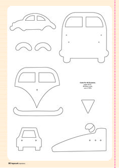 Free card making templates from Papercraft Inspirations 123 carros kombi e fusca Felt Patterns, Applique Patterns, Applique Designs, Sewing Patterns, Applique Templates Free, Card Making Templates, Patchwork Quilting, Felt Ornaments, Paper Piecing