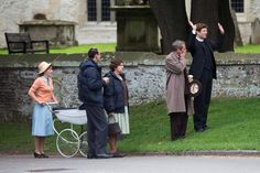 Cast members, pictures on set, have thanked the village for being so welcoming