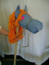 Here are stick horses I made for our neighborhood Wild West Days.  I used old blue jeans for the head (the bottom half of the pant legs) and...