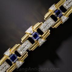 Contemporary Art Deco Style Sapphire and Diamond Bracelet - - Lang Antiques Gents Bracelet, 9ct Gold Bracelet, Mens Gold Bracelets, Bangles, Gold Chains For Men, Golden Jewelry, Vintage Engagement Rings, Bracelet Designs, Art Deco Fashion