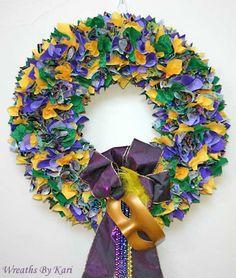 Mardi Gras fabric wreath.