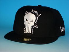 New Era Punisher Fitted Hat Size 7 3/8 Eclipse 59fifty Marvel Comics Black 5950 #59Fifty