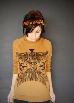Xochitl - Unisex tribal aztec Sweatshirt in Camel and Black - by Bark Decor. $55.00, via Etsy.