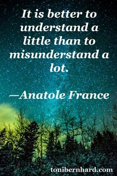 """""""It is better to understand a little than to misunderstand a lot."""" —Anatole France"""