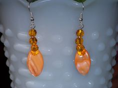 Orange Mother of Pearl and Gold Celestial by OurBeadedCharms, $10.00