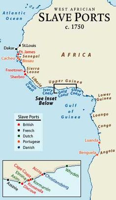 Slave ports in West Africa in 1750 are shown, identifying those held by the British, French, Dutch, Portuguese, and Danish. Gorée Island, the slave trading port opposite Dakar, Senegal, is only three kilometers from the coast and cannot be seen on this map. In addition to these ports were slave trading locations on the east side of Africa, at Mozambique, Zanzibar, and Madagascar.