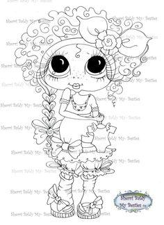 INSTANT DOWMLOAD Digital Digi Stamps Big Eye Big Head Dolls Digi Expecting Img216 By Sherri Baldy