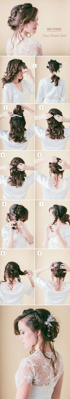 Boho bridal hairstyle: loose braided updo tutorial.                                                                                                                                                                                 More