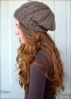 Slouchy, Ribbed Hat In Cappuccino Chunky Weight Yarn
