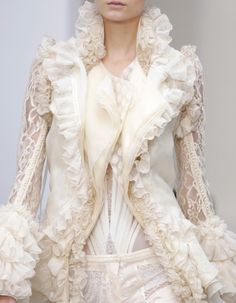 Ivory and lace ruffles
