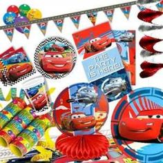 RZOnlinehandel - Partyset Cars RSN 8 Kinder - 58-teilig Party Set, Race Cars, Racing, Sports, Check, Self, Birth, Kids, Drag Race Cars