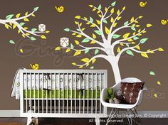 @Valerie Harrish I can't help but look at cute nursery murals. :) Hahaha, minus the slightly odd looking yellow birds, this is adorable. And I am so game to decorate that sweet girl's room.