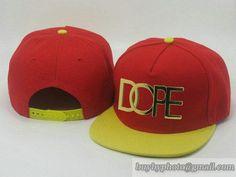 Cheap Wholesale DOPE Adjustable Snapback Hats Red/Yellow Brim Flat Bill Caps 381 for slae at US$8.90 #snapbackhats #snapbacks #hiphop #popular #hiphocap #sportscaps #fashioncaps #baseballcap