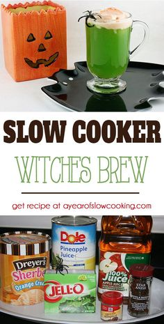 Our favorite Party Punch Recipe for Halloween! In the crockpot: combine apple…