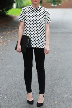 Love this black and white ensemble.