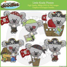 Little Koala Pirates Clip Art