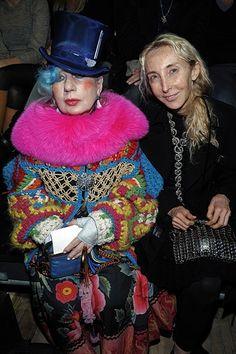 Anna Piaggi in crochet and macrame jacket.