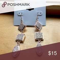 Rose Gold Earrings, Star Square & Oval w/ Stones New with tags :) gorgeous rose gold dangly earrings Jewelry Earrings