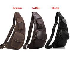 Men's Leather Backpack,Small Day Pack,Over the Shoulder Bag,Sling Chest Bag,iPhone Holder,Sports Travel Running Packs,Single Strap,3 Colors