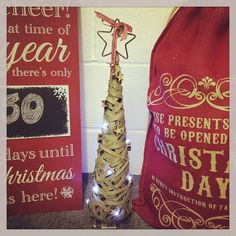 Pretty rattan light up LED cone Christmas tree These have pretty lights and wooden stars dotted around the tree with a metal star bells and gingham