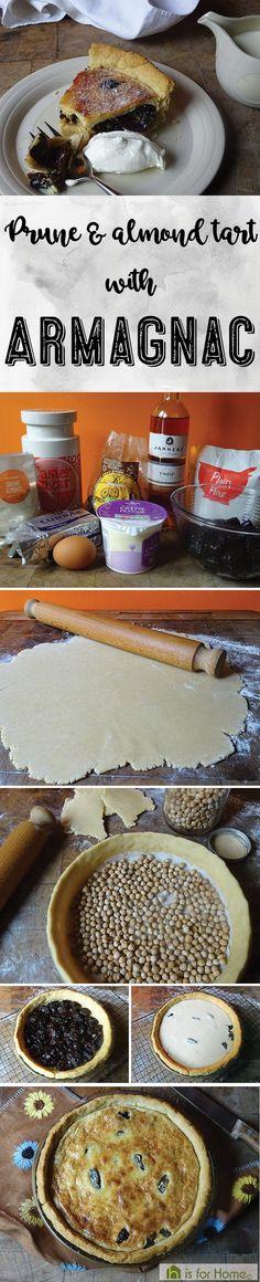 Prune & almond tart with Armagnac #recipe #food #prunes #fdbloggers