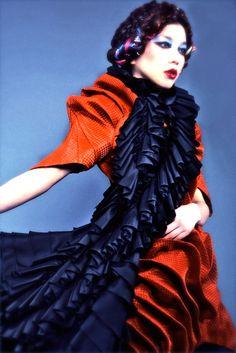 Dress- Junya Suzuki for Chloma; Ruffle dress (worn as shawl) - Saphir East