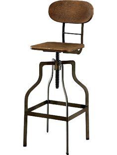 Furniture of America Alavus Industrial Height-Adjustable Swivel Barstool, Oak ❤ Furniture of America