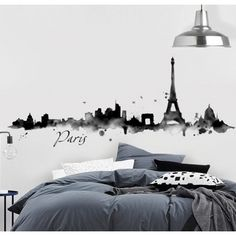 vinilo-paris-skyline-acuarela