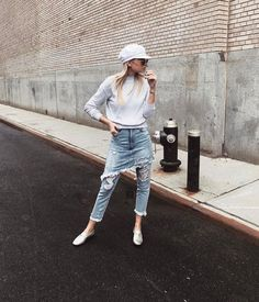 How to style denim skirt and jeans Light grey sweater, denim skirt on denim jeans layering.  Cool beret by weworewhat