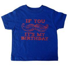 Funny Boys Mustache Birthday Royal Blue Shirt