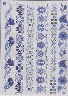 Blue borders in cross stitch Cross Stitch Bookmarks, Mini Cross Stitch, Cross Stitch Borders, Cross Stitch Charts, Cross Stitch Designs, Cross Stitching, Cross Stitch Embroidery, Cross Stitch Patterns, Boarder Designs