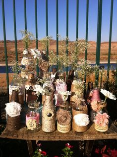 Wholesale Rustic Bottles Jugs And Mason Jars -Rustic Chic Wedding; Burlap Lace Centerpieces/Head Table Decor...I like the babes breath !!!