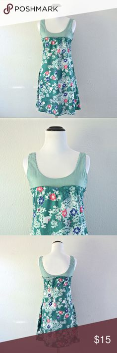 """Green Floral Dress Green floral and striped tank dress by Mynt Star. Has a side zipper closure. In great condition!    Measurements   Size: Small Length: 33"""" Bust: 29""""    Materials   100% cotton. Machine washable. Mynt Star Dresses"""