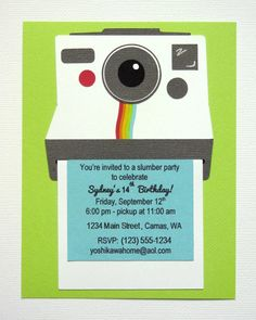 Polaroid Camera Themed Birthday Invitation for instagram themed party by Mendi Yoshikawa