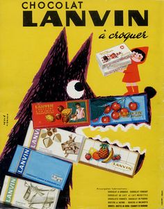 Lanvin Chocolates 1958 with little red riding hood and the wolf