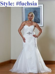 Straps Aline Plus size Beaded sash bridal gown#fuchsia