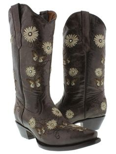 Cowboy Professional - Womens Dark Brown Butterfly And Flower embroidered Genuine Leather Cowboy Boots with Snip Toe Size 5.5