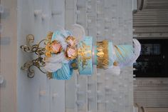 Victorian inspired cake.  The steps of the Oklahoma Heritage center make the perfect back drop.
