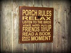 Wooden Sign / Porch Rules Sign / Wall decor for the porch