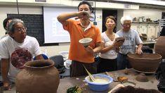 Lee Kang Hyo applying slip on tea bowls. Video.
